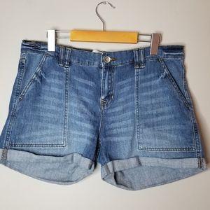 Joe Fresh medium wash high rise jean shorts
